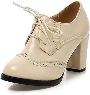 090d3b5e Las Mujeres de Las Bombas de Encaje Vintage Zapatos Oxford Tacones Gruesos  de Cuero Tacones Altos
