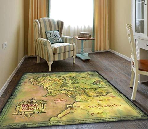 hhjxptst Alfombra - El Señor De Los Anillos Mapa De La Alfombra del Piso De La Tierra Media 120x120cm Estilo 2