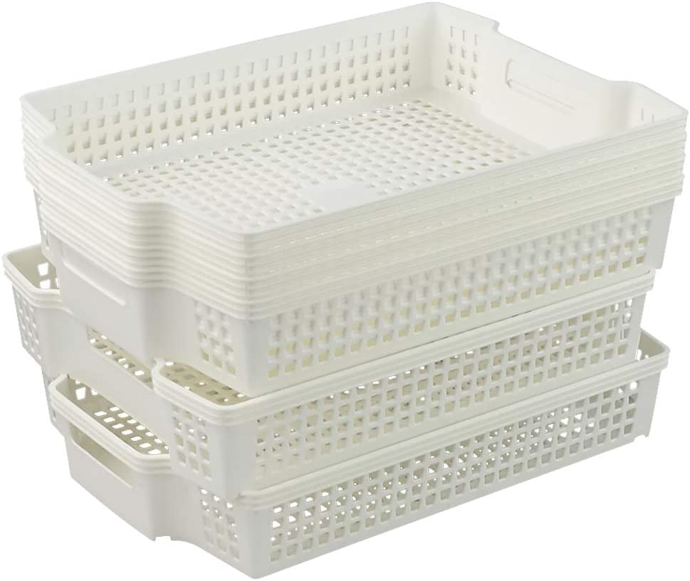 Sosody Safety and trust 6-Pack Stacking Plastic Storage Stor Baskets Selling and selling Paper White