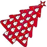 FEIGO Natalizio Calendario dell'Avvento 1-24 Giorni Luci LED in Feltro Albero di Natale Calendario dell'Avvento con Ciondolo a Forma di Casa, 45 × 30 cm