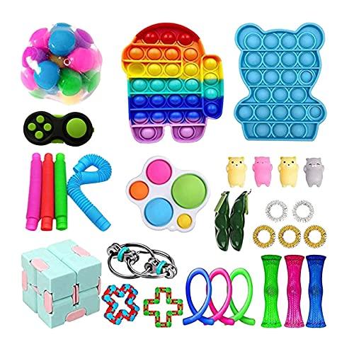 Fidget Toy Set Box, Sensory Fidget Toys Set, Anti Stress Spielzeug Set, Sensory Toys für Kinder Erwachsene, Party Favourites Hand Spielzeug Stress-Angst Relief Spielzeug Set für ADHS