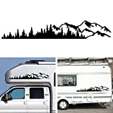 Wilove 1 Pcs Universal Vinyl Trees Mountain Forest Graphic Stickers Body Window Bumper Decals for RV, Caravan, Car, Truck