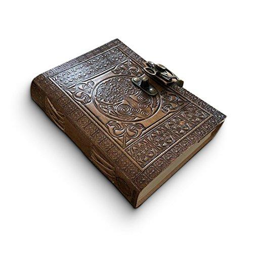 Leder Tagebuch handgefertigt - keltisch geprägtes Reise Notizbuch – Design Antiker Baum des Lebens - schön handgefertigtes Buch als Geschenk oder als Travelers Notebook 18cm x 12cm