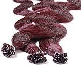 Hair2Heart 100 x 1g Extension Capelli Veri Cheratina - 40cm, colore #99j Vino Rosso, ondul...