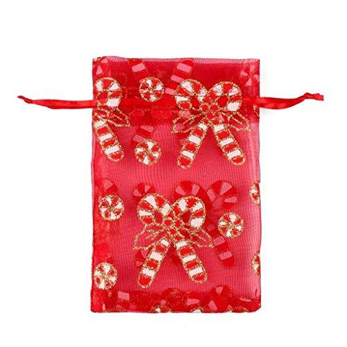 Uteruik Kerstmis Trekkoord Organza Bag Herbruikbare zak Biscuit Snoep Tassen Opslag