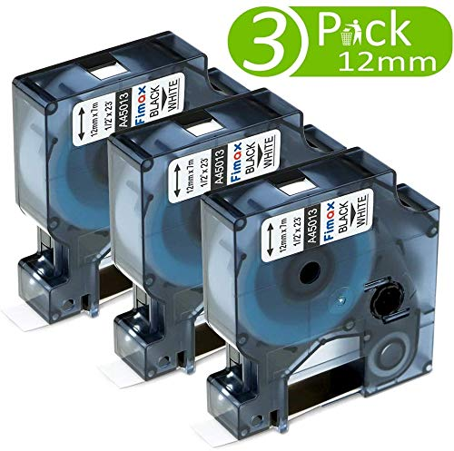 Nastro per Etichette Fimax Compatibile In sostituzione di Dymo D1 45013 S0720530 Nero su Bianco 12mm x 7m Nastro per Dymo LabelManager 160 280 120P 420P 500TS (Confezione da 3)