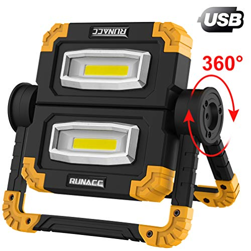 comparateur RUNACC LED Rechargeable Projecteur 20W Chantier de Construction 1500LM Lampe de Travail Portable Rotation 360 °