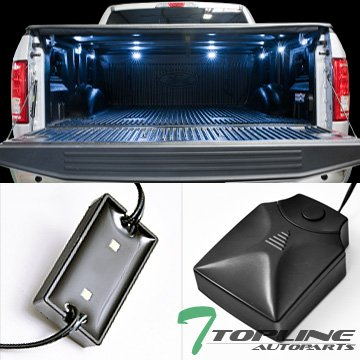 Topline Autopart Universal 8 Pods 16X White LED Rear Trunk Truck Cargo Bed Work Lights Lamps + Wiring w/On Off Control Box Switch
