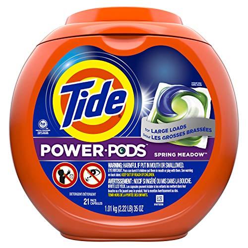 Tide Power Pods Spring Meadow - Paquete de detergente para lavandería (21 unidades)