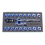 MichaelPro MP001001 3/8 inch Drive Socket Wrench Set, 20-piece, 12-Point Socket in SAE & Metric Size-With Reversible and Flexible Low Profile Ratchet Wrench Handle, Extension Bar and EVA Tray