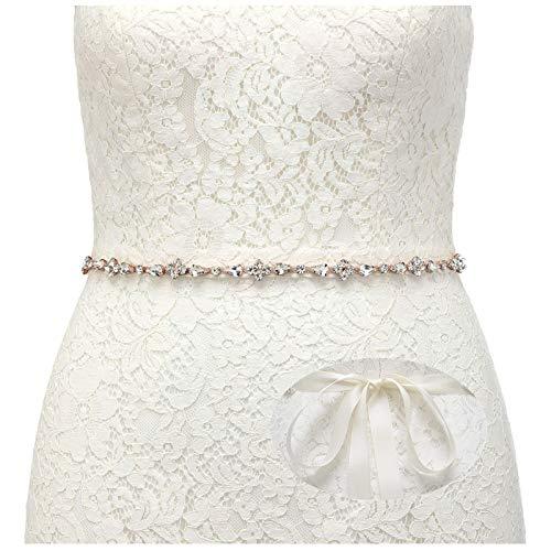 SWEETV Rhinestone Wedding Belt Crystal Bridal Belt Headband Bridesmaid Sash Belt for Women Dress & Gown, Rose Gold