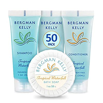 BERGMAN KELLY Soap Bars & Shampoo and Conditioner 3-Piece Set (1 Oz each, 50 Pack, Tropical Waterfall), Delight Your Guests with Invigorating and Refreshing Travel Size Hotel Toiletries in Bulk
