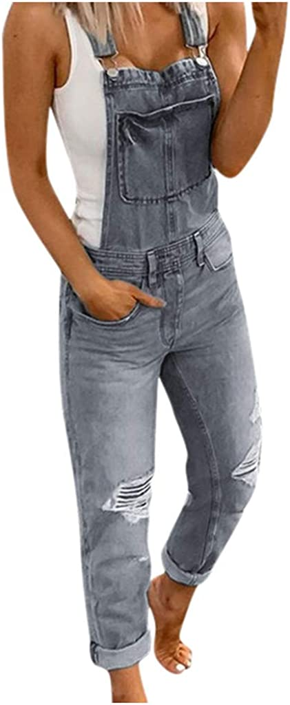 FUNEY Adjustable Denim Bib Overalls Jeans Casual Stretch Jeans Ripped Denim Pants Jumpsuits Rompers for Women