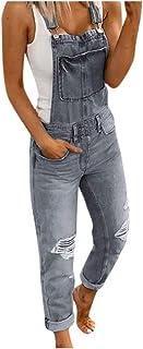 Suncolor8 Women Skinny Jeans Jumpsuits Adjustable Strap Ripped Distressed Denim Big Overalls