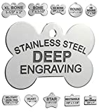 Stainless Steel Custom DEEP Engraved Pet ID Tags Personalized Front and Back Dog Tags for Dogs and Cats (Bone 1' x1-1/2 (2-Side Engraving))