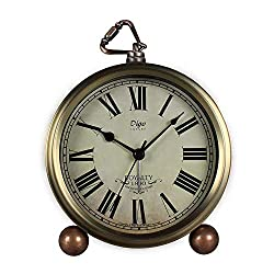 Table Clock Non-Ticking, Metal Vintage Alarm Clock Battery Operated Analog Silent Table Desk Clock Beside Clock with Quartz Movement Bedroom Living Room Kids (Gold-R)