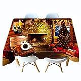 Shadow Mantel Gris Beige Natural Navidad Mantel Impreso en 3D cabaña Mantel de Personalidad de Navidad Mantel de Personalidad Colgante de Tela 140x200cm