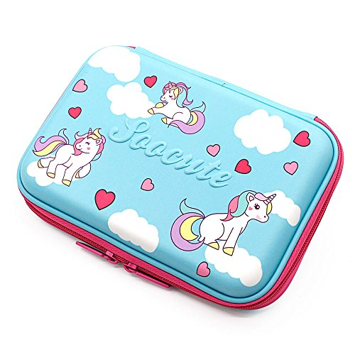 Cute Unicorn Blue Pencil Case School Girls Toddler Hardtop Pencil Pouch Pen Box with Compartment for Kids