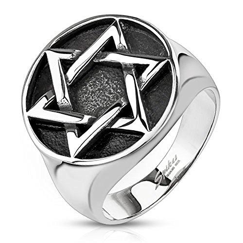 BlackAmazement Anello unisex in acciaio inox 316L con stella di David massiccio, in stile gotico, argento e Acciaio inossidabile, 20, cod. -