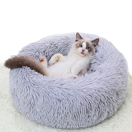 cat beds Cat Beds for Indoor Cats, Washable Puppy Beds for Small Dogs Marshmallow Cat Bed Pet Beds Cozy Fur Donut Cuddler Round Warm Bed Improved Sleep Orthopedic Relief Self-Warming Dog Bed - Grey 20Inch