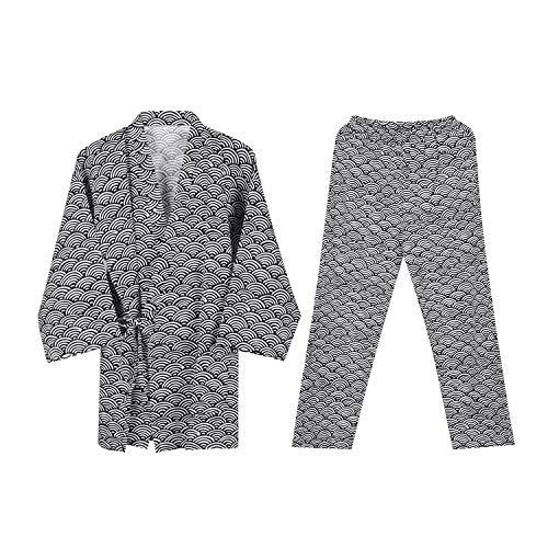 Unisex Yukata Pyjama Kimono Nachthemd Morgenmantel V-Ausschnitt Langarm Schlafmantel Paar Bademantel Jinbei Shirt Hose Japanische Kleidung Bequem Nachtwäsche Sleepwear mit Tasche (Schwarz)
