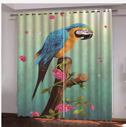 QDDRL Cortina Aislantes Termicas Cortinas Opacas Dormitorio Juvenil Habitacion Cortinas Salon Modernas Habitacion Matrimonio,Animal Lindo Loro 220Cmx215Cm