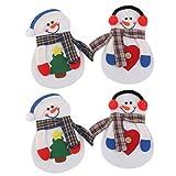 FLAMEER Merry Christmas Snowman Vajilla Cubiertos Traje Cena Fiesta Decoración de Navidad