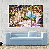 WERSD Moderno Cuadro En Lienzo 3 Piezas Casa Cerca del Mar, Flores Coloridas, Paisaje De Verano HD Poster Pictures Paintings Home Decor Impresión Artística Fotográfico Regalo