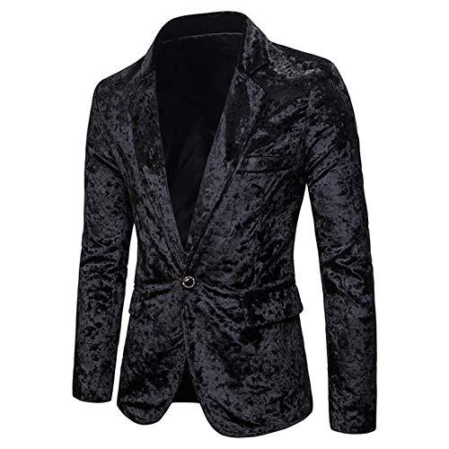 Mr.BaoLong&Miss.GO Men Fashion Suit Velvet Fabric European and American Fashion Men Casual Multicolor Diamond Velvet Slim Suit Jacket Black