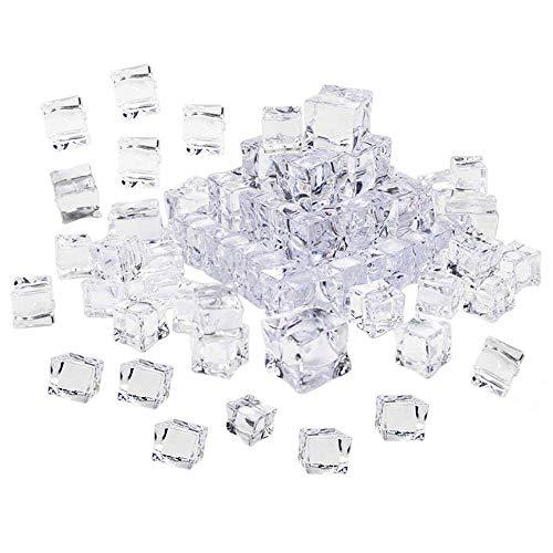 Gobesty Künstliche Acryl Eiswürfel, 50 Stück Plastikeiswürfel Deko-Eiswürfel Künstliche Acryl-Eiswürfel Eiswürfel Klar Kunststoff Dauereiswürfel für Vase Füller Tischdekoration Photographieren Props