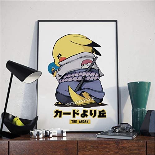 zpbzambm Frameless Painting 50X70Cm Cartoon Anime Pikachu Naruto Children'S Room Painting Home Decoration Art Hd Life Poster Canvas Painting,Aq-1264