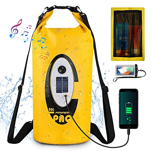 GreenSun Dry Bag 20L Wasserdichte Taschen mit Bluetooth Lautsprecher Packsack Wasserfester Rucksack Unterwasser Handytasche für Kajak Boot Angeln Rafting Schwimmen Wassersport Treiben