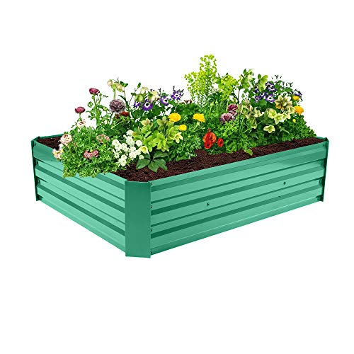 Outdoor Raised Garden Beds Kit for Vegetables Large Metal Planter Box Steel Kit Flower Herb for Growing Fresh Veggies,Herbs,Vegetables (Green, 48.03 x 36.22 x 12.2 inch)