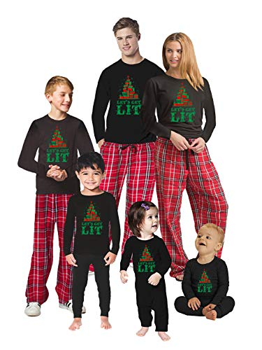 Let's Get Lit Sleepwear PJ - Christmas Matching Pajama Sets - Holiday Xmas Jammies for Family Photo Shoot Men PJ Set XL Red