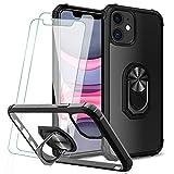 KEEPXYZ Funda para iPhone 11 + 2 Pcs Protector de Pantalla Cristal Vidrio Templado, Parte Posterior Dura de PC Transparente Silicona Carcasa con 360 Grados iman Soporte para iPhone 11(6.1'')