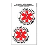 COOLHUBCAPS Medical Alert Bleeding Disorder Reflective Decals (2 Pack, Small)