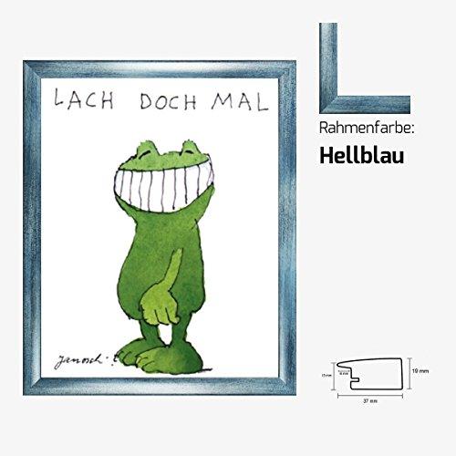 Kunstdruck Janosch - Lach doch mal 58 x 48 cm mit MDF-Bilderrahmen Pisa & Acrylglas reflexfrei, viele Farben zur Auswahl, hier Hellblau