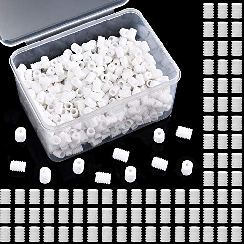 600 Pieces Anti-Slip Cord Locks Silicone Adjustment Buckles Plastic Elastic Cord Buckles Silicone Toggles with Storage Box for Earloop Buckles and DIY Crafts Supplies (White)