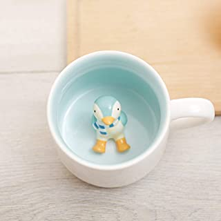 Surprise 3D Cartoon Miniature Animal Coffee Cup Mug with Baby Penguin Inside - Best Office Cup & Christmas Gift (Penguin)