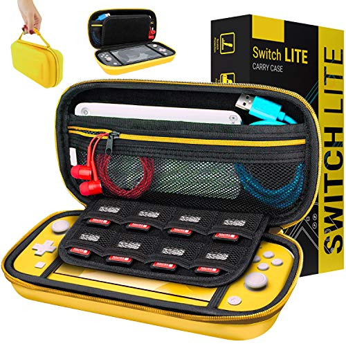 Orzly Case for Nintendo Switch Lite - Portable Travel Carry Case with Storage for Switch Lite Games & Accessories [Yellow]