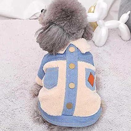 Crazyfly Chaqueta de mezclilla caliente para cachorro, chaqueta de abrigo para perro, abrigo de cachorro para mascota, diseño de hebilla frontal cálido y suave abrigo de perro ropa de perro