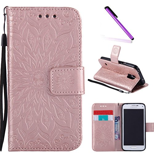 Galaxy S5 Case,LEECOCO Fancy Embossed Floral Pattern Wallet Case with Card / Cash Slots [Kickstand] Shockproof PU Leather Flip Case Cover for Samsung Galaxy S5 i9600 Mandala Rose Gold