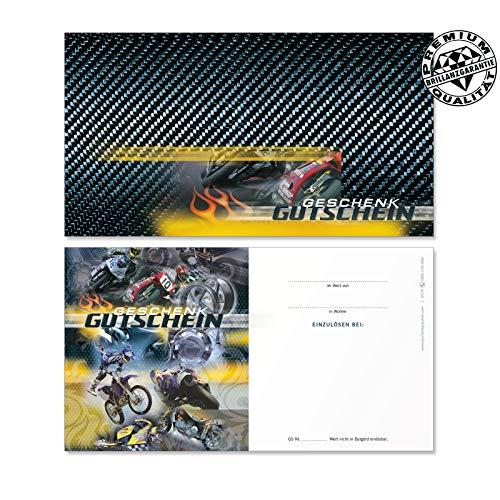 50 hochwertige Gutscheinkarten Geschenkgutscheine. Vorderseite hochglänzend. Gutscheine für Motorräder Motorroller Motorradgeschäft. SP1219