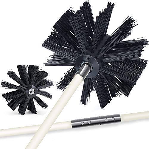 12 Feet Dryer Vent Cleaner Kit Lint Remover Fireplace Chimney Brushes Extends Up to 12 Feet Synthetic Brush Head Use with or Without a Power Drill