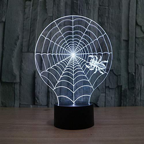 Lámpara de ilusión óptica LED Luz de noche 3D Coral Spider Web Monster, Lámpara de dormitorio, Regalo de fiesta, Lámpara de ilusión, E - Base para despertador (7 colores)