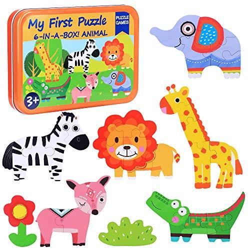 Puzzles de Madera Niños,Juguetes Bebes 3 año,Juguete Educativo Montessori,Puzzles Infantiles,Animales Rompecabezas,Puzles con Caja de Rompecabezas de Metal,Cumpleaños Niñas Niños