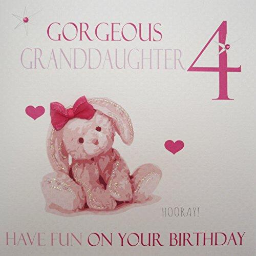 Wit Katoen Kaarten Prachtige Kleinkind 4, Handgemaakte Leeftijd 4 Verjaardagskaart (Pink, Konijn)
