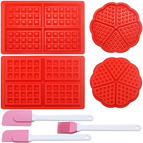 UBERMing 4 Pezzi Stampi per Waffle Antiaderenti in Silicone Waffle Stampi da Forno a Forma di Quadrato e Cuore Rosso con 2 Spatole in Silicone Rosa e 1 Pennello per Olio in Silicone
