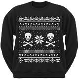 Old Glory Skull & Crossbones Ugly Christmas Sweater Black Crew Neck Sweatshirt - Medium