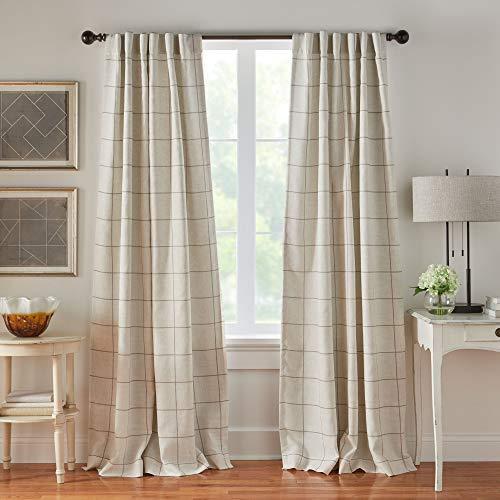 "Elrene Home Fashions Brighton Windowpane Plaid Grid Blackout Window Curtain Panels/Drapes for Living, Bedroom, Dining Room, 52""x84"", Linen"